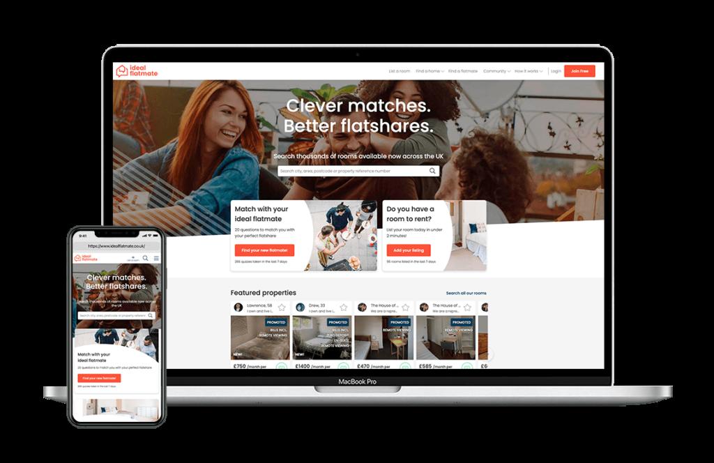 ideal flatmate on desktop and mobile
